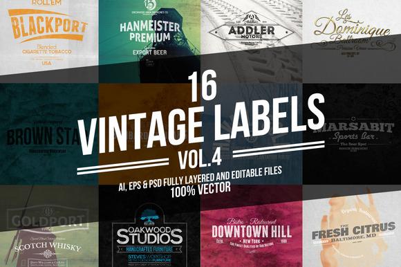 Vintage Labels Badges Vol.4