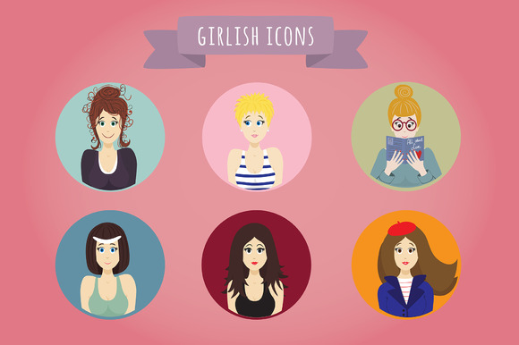 The Set Of Girlish Icons