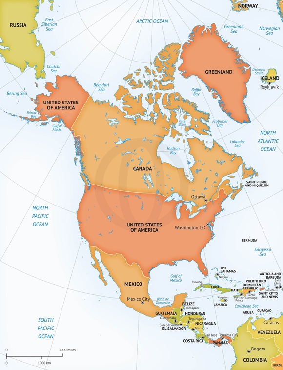 Vector Map Continent North America