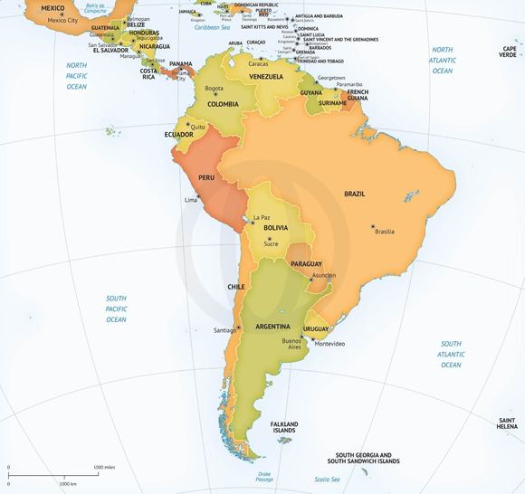 Vector Map Continent South America