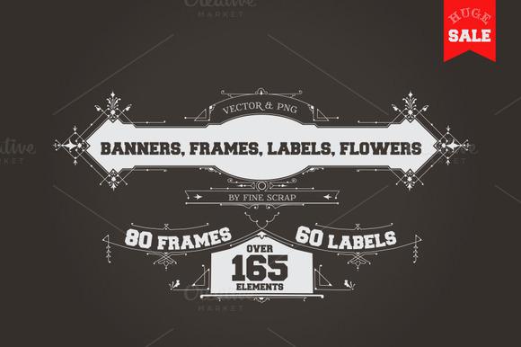 165 Vintage Frames Banners Labels