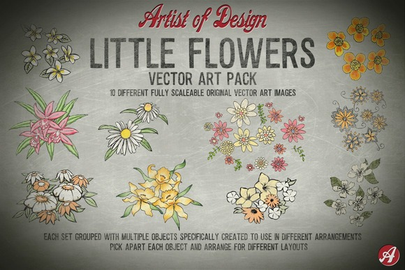 A1032 Little Flowers Vector Pack