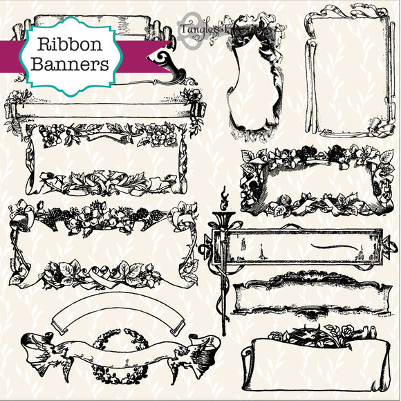 55 Vintage Ribbon Banners Labels