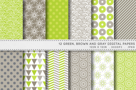12 Green Brown Gray Digital Papers