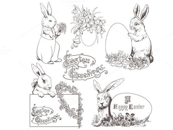 Easter Bunnies Doodle Clipart
