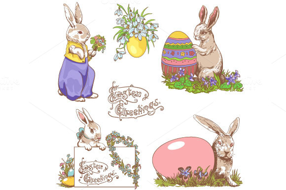 Easter Bunnies Doodle Clipart