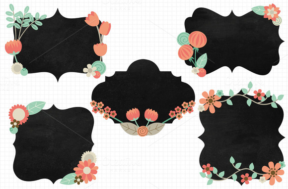 Pretty Flower Chalkboard Borders