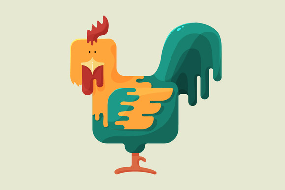 Cute Color Square Shaped Rooster