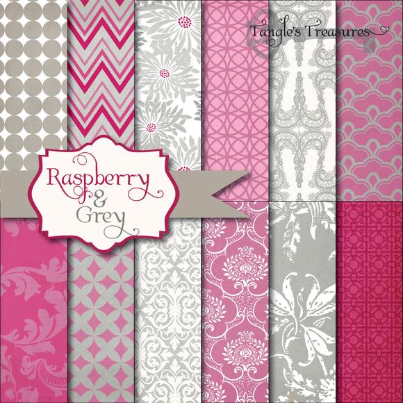 Raspberry Grey Digital Paper
