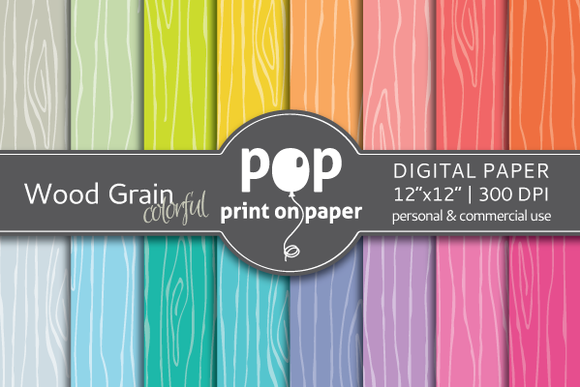 Wood Grain Colorful 16 Digital Paper