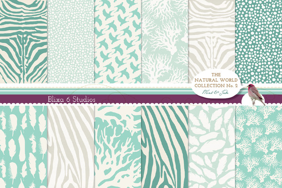 Natural Animal Digital Patterns Mint