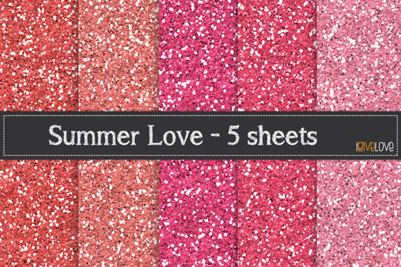 Summer Love Glitter Paper Pack