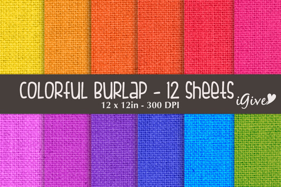 Colorful Burlap Digital Paper