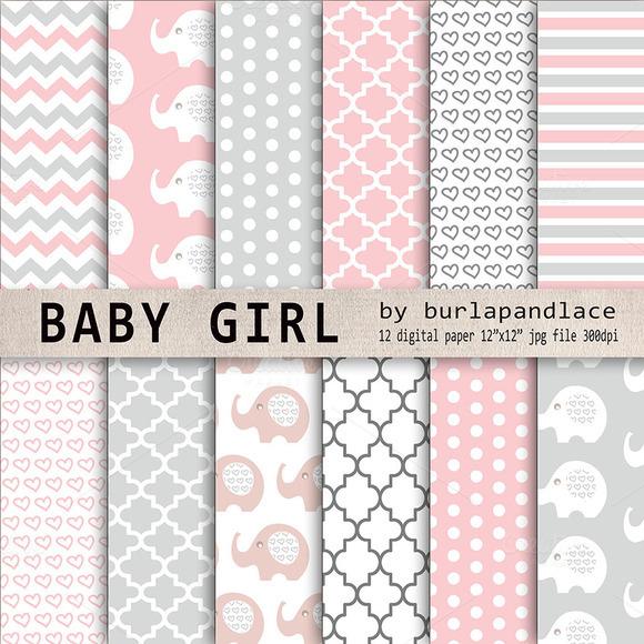 Baby Girl Elephant Digital Paper