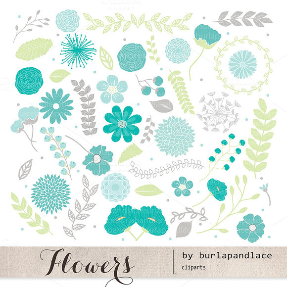 Flower Spring Teal Clipart