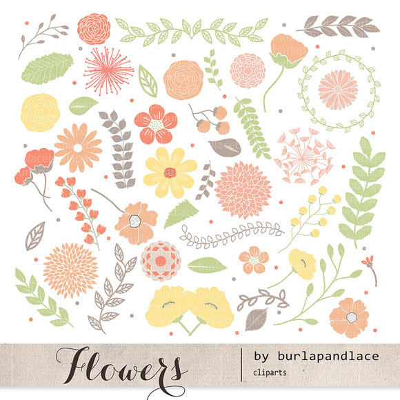 Spring Flowers Clipart Orange Green