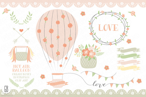 Hot Air Balloons Roses Ribbons