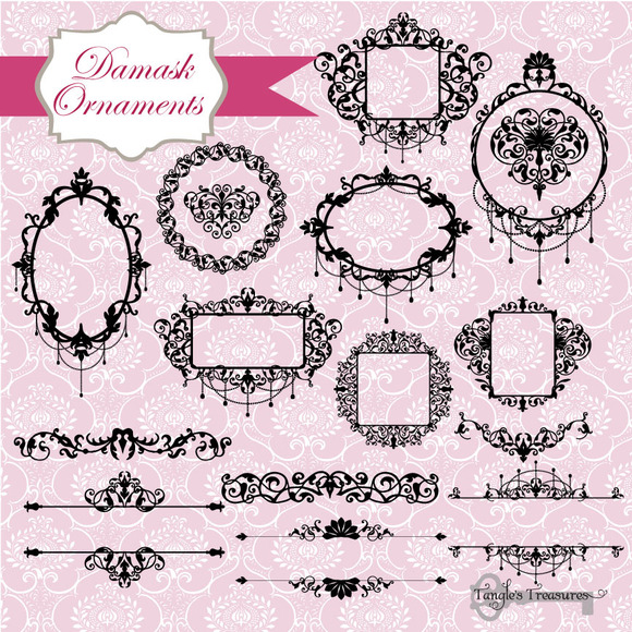 Damask Frames Clipart Vectors