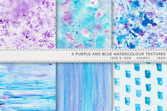 6 Watercolour Textures Blue Purple