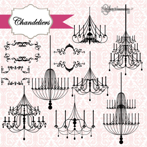 Chandeliers Ornaments Vectors