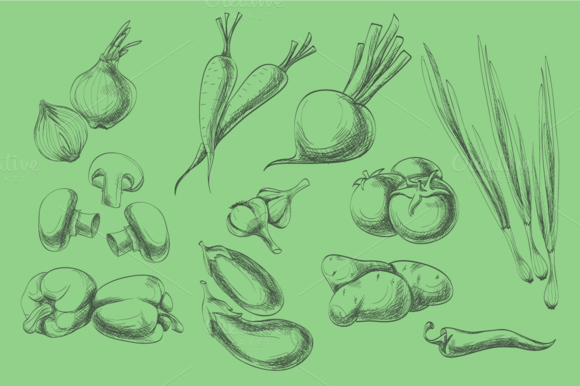 Hand Drawn Vegetables Fruits