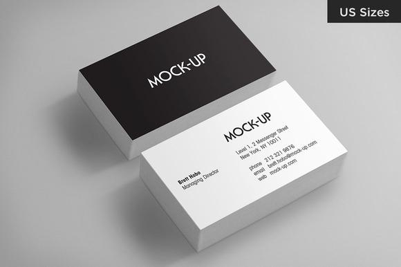 Business Card Mockups US Sizes