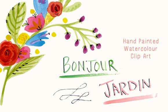 Painted Clip Art Bonjour Jardin