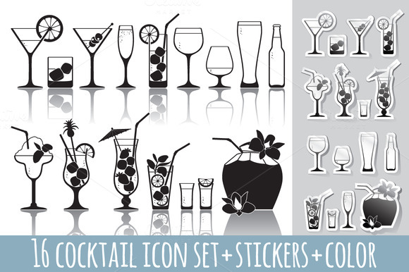 16 Cocktail Icons Set Stickers