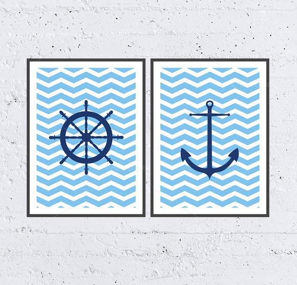 Sea Chevron Printable Poster