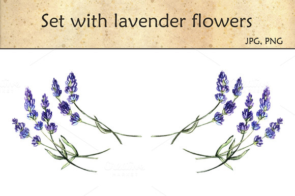 Set With Lavender Flowers