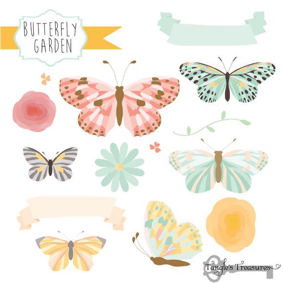 Butterfly Garden Clipart Vectors