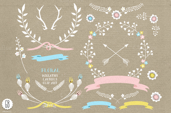 Floral Wreaths Ribbons Pastel