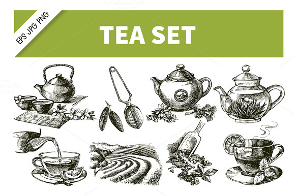 Sketch Hand Drawn Vintage Tea Set