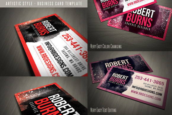 Grunge Business Card Template 03