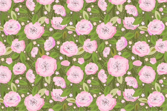 Seamless Pattern Cherry Blossom
