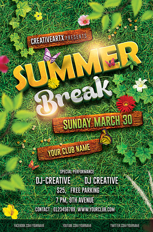 Spring Break Summer Party Flyer