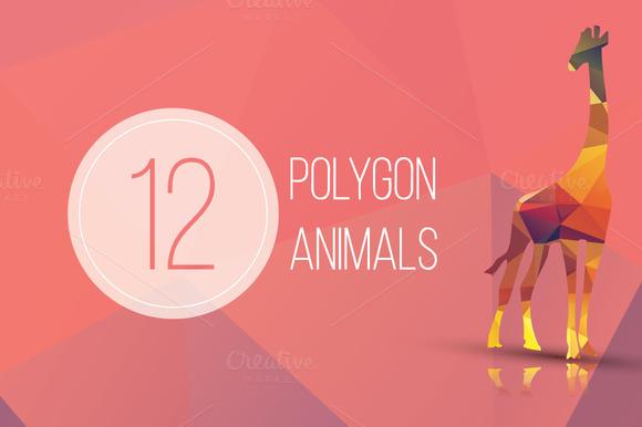 12 Geometric Polygon Animals