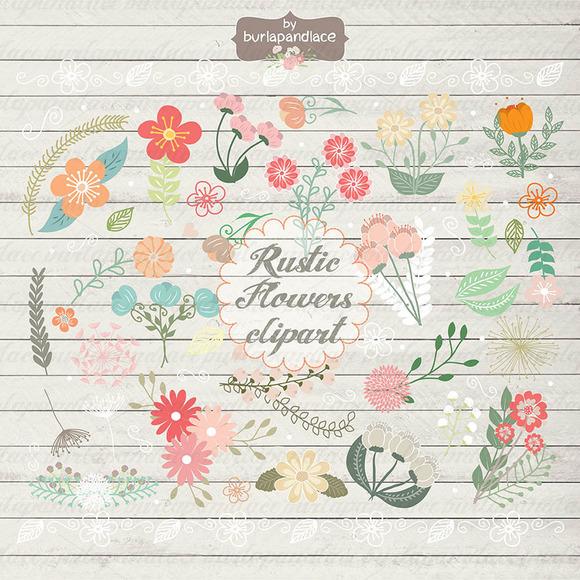 Rustic Color Flowers Clipart