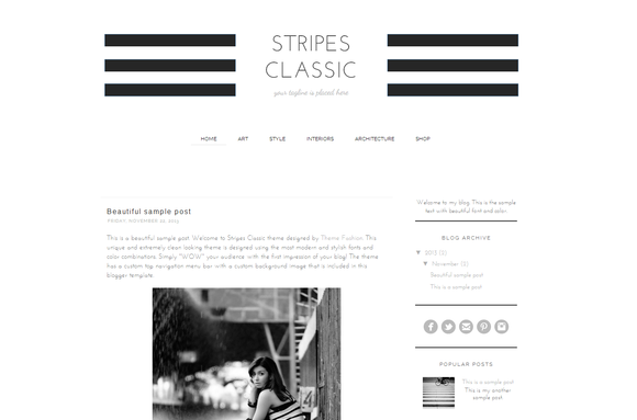 Blogger Theme Stripes Classis