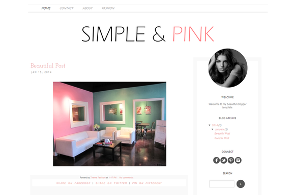 Blogger Template Simply And Pink