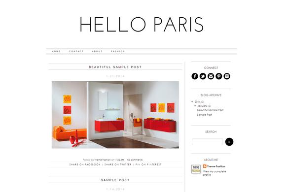 Blogger Template Hello Paris