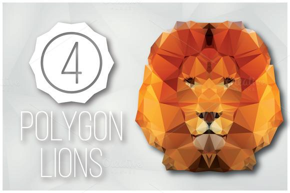 4 Geometric Polygon Lions