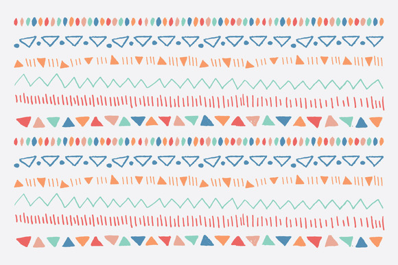 6 Vector Hand Drawn Tribal Borders