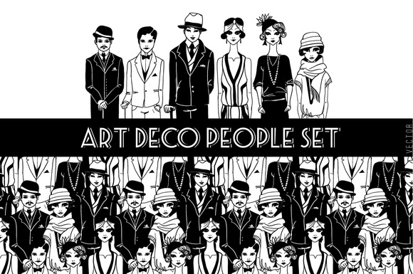 Set Of Art Deco People