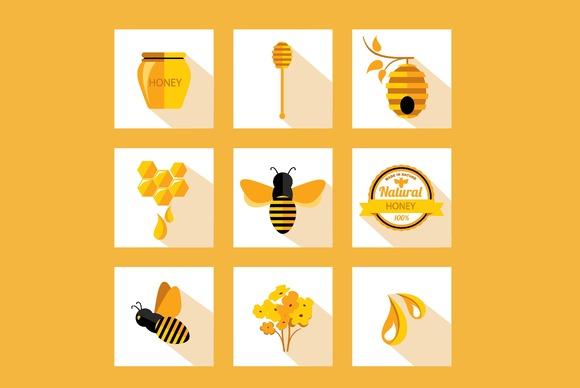 9 Icons Honey Bee