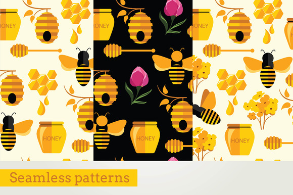 3 Seamless Pattern Honey Bee
