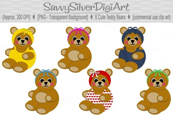 Cute Teddy Bear Digital Clipart