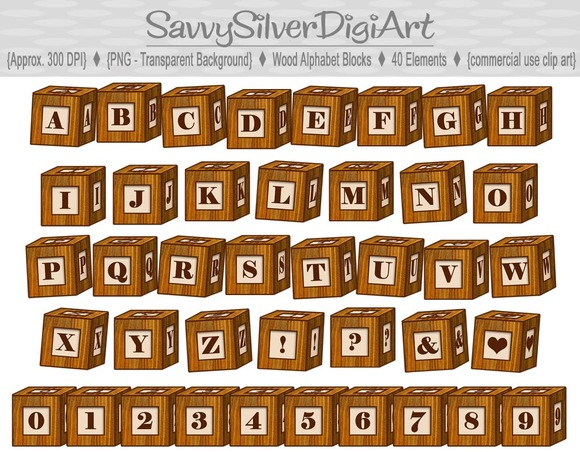 Wood Alphabet Blocks-Digital Clipart