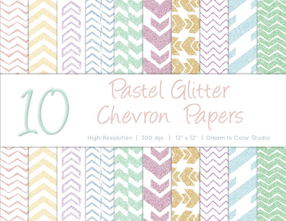 Spring Pastel Chevron Glitter Papers