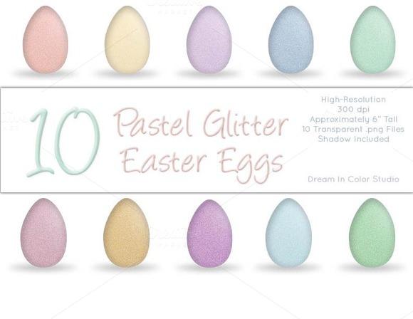10 Spring Pastel Glitter Easter Eggs
